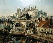Loches  - Gate of the Cordelieres and the Chateau, River Indre (foreground) 1891. Oil on canvas.  Emmanuel Lansyer (1835-1893) French landscape painter.  France Touraine City Fortified Medieval