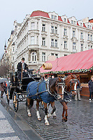 Christmas market and winter in December in Prague Czech Republic