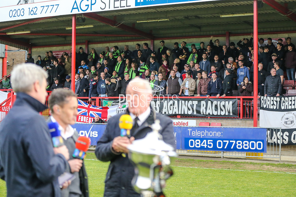 FGR fans pack out the away stand during the Vanarama National League first leg play off match between Dagenham and Redbridge and Forest Green Rovers at the London Borough of Barking and Dagenham Stadium, London, England on 4 May 2017. Photo by Shane Healey.