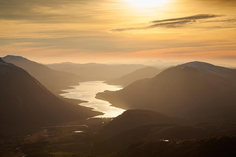 Loch Etive at sunset from Buachallie Etive Beag, Glen Etive, Scotland