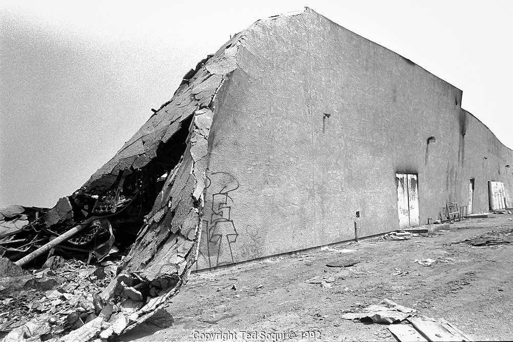 A Smart and Final store that was looted and burned to the ground on South Vermont ave. and 36 street near USC.