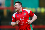 Keighley Cougars scrum half Matty Beharrell (7) scores a try   during the Betfred League 1 match between Keighley Cougars and Workington Town at Cougar Park, Keighley, United Kingdom on 18 February 2018. Picture by Simon Davies.