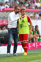 21.07.2013, Borussia Park, Moenchengladbach, GER, Telekom Cup, Borussia Moenchengladbach vs FC Bayern Muenchen, im Bild Pep GUARDIOLA (FC Bayern Muenchen) im Gespraech mit Xherdan SHAQIRI #11 (FC Bayern Muenchen), hoch, hochformat, portrait, vertikal, // during the Telekom Cup Match between Borussia Moenchengladbach and FC Bayern Munich at the Borussia Park, Moenchengladbach, Germany on 2013/07/21. EXPA Pictures &copy; 2013, PhotoCredit: EXPA/ Eibner/ Joerg Schueler<br /> <br /> ***** ATTENTION - OUT OF GER *****