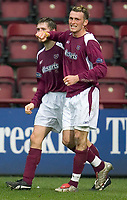 Fotball<br /> Skottland 2004/2005<br /> Foto: SBI/Digitalsport<br /> NORWAY ONLY<br /> <br /> Hearts v Kilmarnock, Scottish Cup fourth round, Tynecastle Park, Edinburgh. 05/02/2005<br /> <br /> Lee Miller celebrates his goal