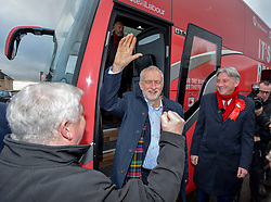 Labour leader Jeremy Corbyn visited Hamilton and Uddingston, South Lanarkshire on his campaign tour of key constituencies in Scotland, where he was met by supporters and a small group of protesters.<br /> <br /> © Dave Johnston / EEm