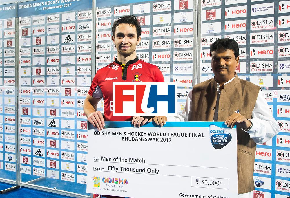BHUBANESWAR - The Odisha Men's Hockey World League Final . Match ID 13 , Quarter Final, . Belgium v India   . Player of the match, Loick Luypaert (Bel)   WORLDSPORTPICS COPYRIGHT  KOEN SUYK