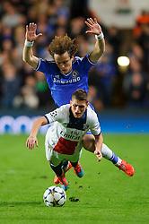 PSG Midfielder Marco Verratti (ITA) is challenged by Chelsea Midfielder Willian (BRA) who appers to dive over him - Photo mandatory by-line: Rogan Thomson/JMP - 07966 386802 - 08/04/2014 - SPORT - FOOTBALL - Stamford Bridge, London - Chelsea v Paris Saint-Germain - UEFA Champions League Quarter-Final Second Leg.