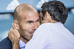 August 13, 2017 - Barcelona, Catalonia, Spain - Real Madrid head coach ZINEDINE ZIDANE greets FC Barcelona head coach ERNESTO VALVERDE prior to the Spanish Super Cup Final 1st leg between FC Barcelona and Real Madrid at the Camp Nou stadium in Barcelona. (Credit Image: © Matthias Oesterle via ZUMA Wire)