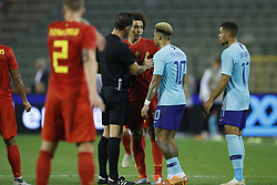 (L-R) referee Artur Soares Dias, Axel Witsel of Belgium, Memphis Depay of Holland, Arnaut Danjuma Groeneveld of Holland during the International friendly match between Belgium and The Netherlands at the King Baudouin Stadium on October 16, 2018  in Brussels, Belgium