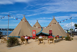 CARDIFF, WALES - Thursday, August 9, 2018: The FAW teepee for the Wales women's team announcement for the final FIFA Women's World Cup 2019 Qualifying Round Group 1 match against England at the Eisteddfod in Cardiff Bay. (Pic by David Rawcliffe/Propaganda)