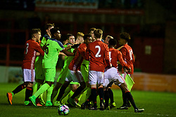 ALTRINGHAM, ENGLAND - Friday, March 10, 2017: Manchester United players Tyrell Warren and DJ Buffonge clash with Liverpool players during an Under-18 FA Premier League Merit Group A match at Moss Lane. (Pic by David Rawcliffe/Propaganda)