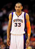 Feb. 15, 2012; Phoenix, AZ, USA; Phoenix Suns forward Grant Hill (33) reacts on the court against the Atlanta Hawks at the US Airways Center. The Hawks defeated the Suns 101-99. Mandatory Credit: Jennifer Stewart-US PRESSWIRE..