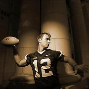 John Beck BYU quarterback portrait shoot on the BYU campus Maeser Building in Provo, Utah Wednesday August 2, 2006.  (August Miller)