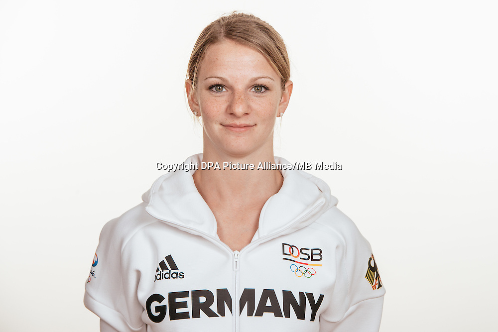 Leonie Adam poses at a photocall during the preparations for the Olympic Games in Rio at the Emmich Cambrai Barracks in Hanover, Germany, taken on 14/07/16 | usage worldwide