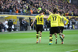 15.02.2014, Signal Iduna Park, Dortmund, GER, 1. FBL, Borussia Dortmund vs Eintracht Frankfurt, 21. Runde, im Bild Nuri Sahin (Borussia Dortmund #18), Pierre-Emerick Aubameyang (Borussia Dortmund #17) gratulieren Milos Jojic (Borussia Dortmund #14) zu dessen Torpremiere // during the German Bundesliga 21th round match between Borussia Dortmund and Eintracht Frankfurt at the Signal Iduna Park in Dortmund, Germany on 2014/02/15. EXPA Pictures © 2014, PhotoCredit: EXPA/ Eibner-Pressefoto/ Schueler<br /> <br /> *****ATTENTION - OUT of GER*****