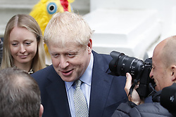 © Licensed to London News Pictures. 13/06/2019. London, UK. Boris Johnson leaves home. Later candidates for the leadership of the Conservative Party will face the first round of voting in Parliament. Photo credit: Peter Macdiarmid/LNP