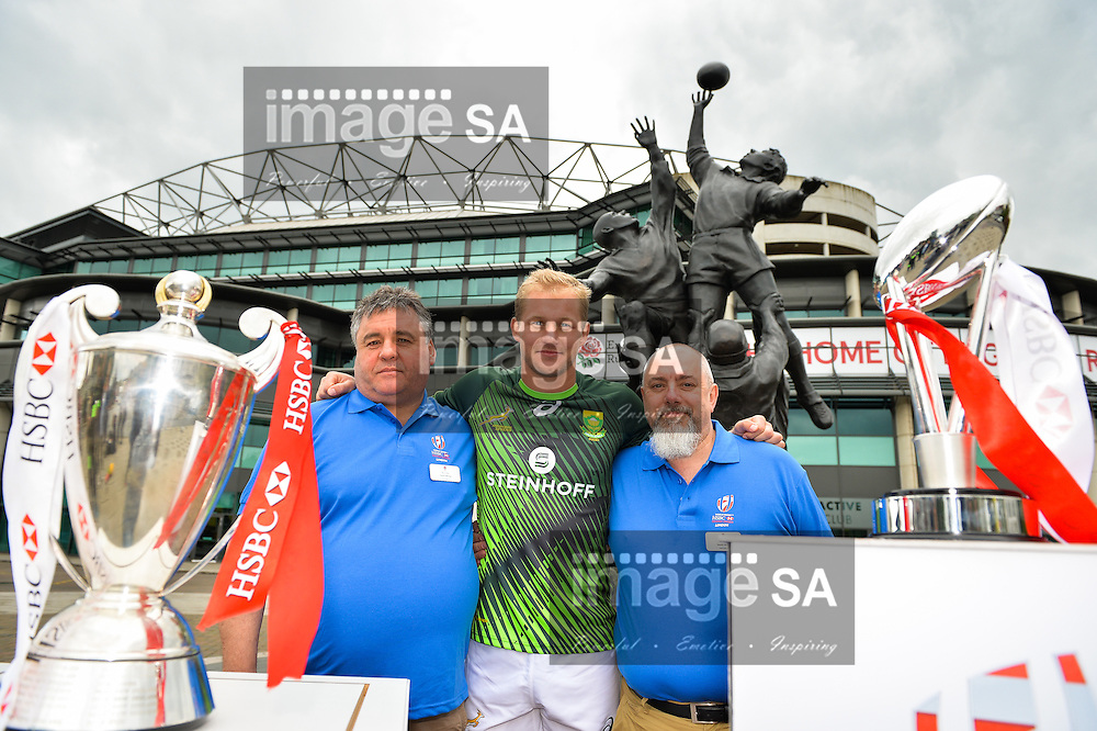 LONDON, ENGLAND - MAY 18: Philip Snyman with the liaison officers during the HSBC London Sevens Captains Photocall session at Twickenham Stadium on May 18, 2016 in London, England. (Photo by Roger Sedres/Gallo Images)