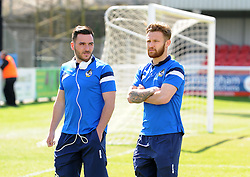 Bristol Rovers' Jake Gosling and Bristol Rovers' Matty Taylor - Photo mandatory by-line: Neil Brookman/JMP - Mobile: 07966 386802 - 18/04/2015 - SPORT - Football - Dover - Crabble Athletic Ground - Dover Athletic v Bristol Rovers - Vanarama Football Conference