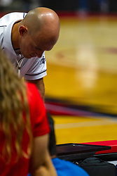 BLOOMINGTON, IL - September 15: Joseph Gustafson works the replay screen during a college Women's volleyball match between the ISU Redbirds and the Marquette Golden Eagles on September 15 2019 at Illinois State University in Normal, IL. (Photo by Alan Look)