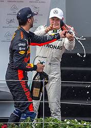 09.07.2017, Red Bull Ring, Spielberg, AUT, FIA, Formel 1, Grosser Preis von Österreich, Rennen, im Bild 3. Platz Daniel Ricciardo (AUS) Red Bull Racing, 1. Platz Valtteri Bottas (FIN) Mercedes AMG Petronas F1 Team // 3nd placed Australian Formula One drive Daniel Ricciardo of Red Bull Racing Winner Finnish Formula One driver Valtteri Bottas of Mercedes AMG Petronas F1 during the Race of the Austrian FIA Formula One Grand Prix at the Red Bull Ring in Spielberg, Austria on 2017/07/09. EXPA Pictures © 2017, PhotoCredit: EXPA/ Dominik Angerer
