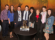 2014 Hobey Baker Award winner Johnny Gaudreau (Boston College) with his family at the Loews Hotel, Center City in Philadelphia, PA Friday April 11th 2014<br /> <br /> Mandatory Credit: Todd Bauders/ ContrastPhotography.com