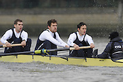 Putney, GREAT BRITAIN,   left  Ben HARRISON, 7. Sjoerd HAMBURGER, Stroke Colin SMITH and Cox Philip CLAUSEN-THUE. during the 2008 Varsity/Oxford University [OUBC] Trial Eights, raced over the championship course. Putney to Mortlake, on the River Thames. Thurs. 11.08.2008 [Mandatory Credit, Peter Spurrier/Intersport-images]. Varsity Boat Race, Rowing Course: River Thames, Championship course, Putney to Mortlake 4.25 Miles,