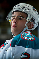 KELOWNA, CANADA - FEBRUARY 23: Erik Gardiner #12 of the Kelowna Rockets stands on the ice during warm against the Seattle Thunderbirds  on February 23, 2018 at Prospera Place in Kelowna, British Columbia, Canada.  (Photo by Marissa Baecker/Shoot the Breeze)  *** Local Caption ***