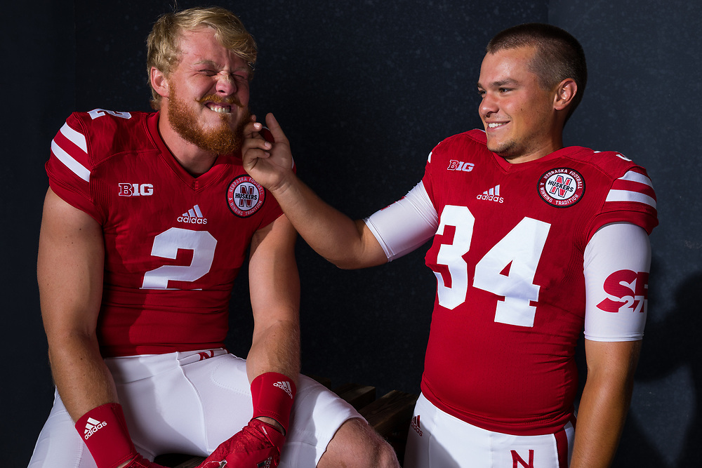 Zack Darlington #2 and Drew Brown #34 during a portrait session at Memorial Stadium in Lincoln, Neb. on June 7, 2017. Photo by Paul Bellinger, Hail Varsity