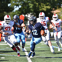 September 9,2017 - Elmhurst, IL,US - D3: Elmhurst College (Bluejays) vs Olivet College (Comets)  at Langhorst Field in Elmhurst IL.<br /> Bluejays lose a tough battle at home against the Comets. Comets win 26-20.<br /> (Credit: Credit: Dean Reid).
