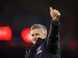 CARDIFF, WALES - Saturday, December 22, 2018: Manchester United's new manager Ole Gunnar Solskjær celebrates after the FA Premier League match between Cardiff City FC and Manchester United FC at the Cardiff City Stadium. Manchester United won 5-1.(Pic by Vegard Grøtt/Propaganda)