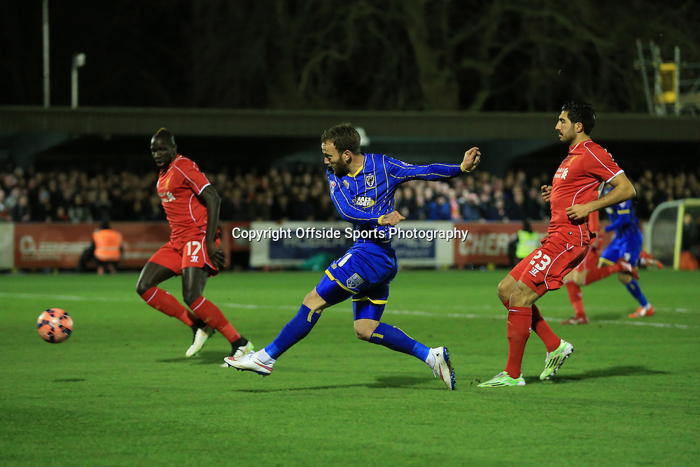 5 January 2015 - The FA Cup 3rd Round - AFC Wimbledon v Liverpool - Sean Rigg of AFC Wimbledon with an early chance - Photo: Marc Atkins / Offside.