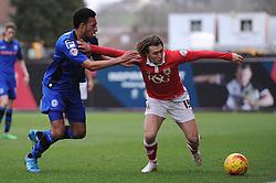 Rochdale's Rhys Bennett challenges for the ball with Bristol City's Luke Freeman - Photo mandatory by-line: Dougie Allward/JMP - Mobile: 07966 386802 - 28/02/2015 - SPORT - football - Bristol - Ashton Gate - Bristol City v Rochdale AFC - Sky Bet League One