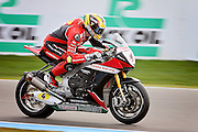 Dan Linfoot (4) Honda Racing during warm up at the BSB Championship at the TT Circuit,  Assen, Netherlands on 2nd October 2016. Photo by Nigel Cole.