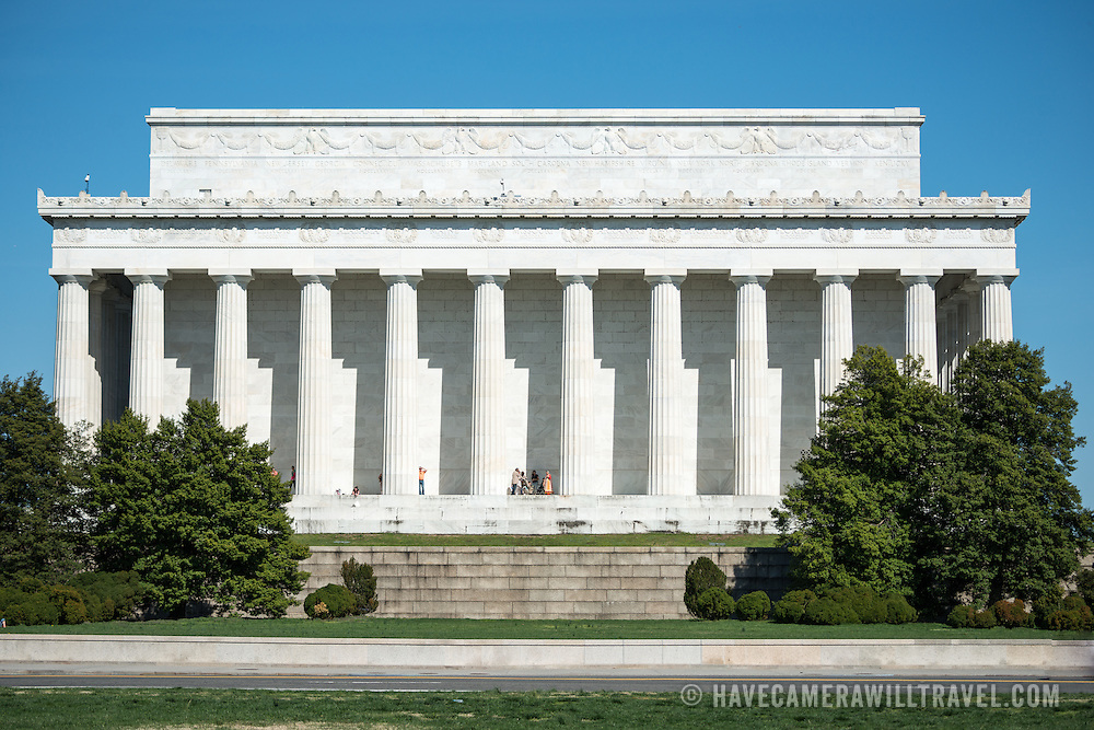 The western face of the Lincoln Memorial on the National Mall in Washington DC. This side faces Arlington Memorial Bridge and Arlington National Cemetery.