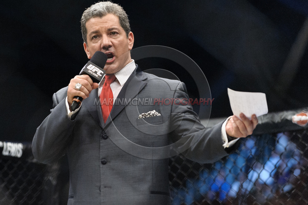 "ABU DHABI, UNITED ARAB EMIRATES, APRIL 10, 2010: Bruce Buffer is pictured announcing the start of the main card at  ""UFC 112: Invincible"" inside Ferari World, Abu Dhabi on April 10, 2010"