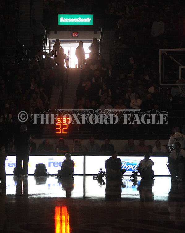 """The lights go out during Ole Miss vs. Arkansas at the C.M. """"Tad"""" Smith Coliseum in Oxford, Miss. on Saturday, January 19, 2013. Mississippi won 76-64. (AP Photo/Oxford Eagle, Bruce Newman)"""