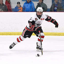 GEORGETOWN, ON  - APR 8,  2018: Ontario Junior Hockey League, South West Conference Championship Series. Game six of the best of seven series between Toronto Patriots and the Georgetown Raiders. Jaden Condotta #40 of the Georgetown Raiders skates with the puck during the third period.<br /> (Photo by Andy Corneau / OJHL Images)