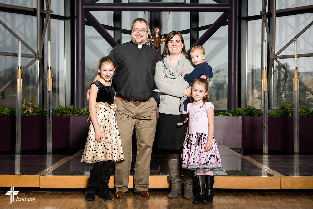 Portrait of the Stinnett family at The Lutheran Church–Missouri Synod International Center chapel on Wednesday, March 4, 2015,  in Kirkwood, Mo. LCMS Communications/Erik M. Lunsford