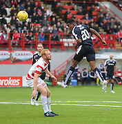 Dundee's Riccardo Calder heads towards goal   - Hamilton Academical v Dundee, Ladbrokes Premiership at New Douglas Park<br /> <br /> <br />  - &copy; David Young - www.davidyoungphoto.co.uk - email: davidyoungphoto@gmail.com