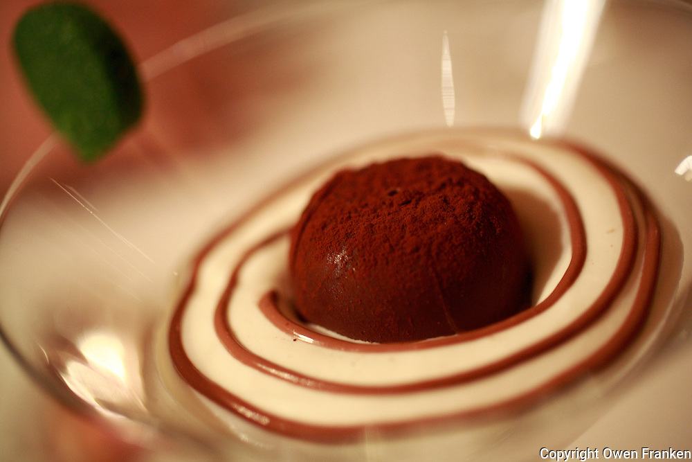A chocolate ice cream dessert at Restaurant Pierre Gagnaire in Paris,<br />