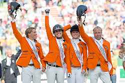 Team NED won bronze in the team test eventing - Alltech FEI World Equestrian Games™ 2014 - Normandy, France.<br /> © Hippo Foto Team - Jon Stroud<br /> 31-08-14