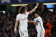 Paris Saint Germain defender David Luiz (32) gesturing to the crowd during the Champions League match between Chelsea and Paris Saint-Germain at Stamford Bridge, London, England on 9 March 2016. Photo by Matthew Redman.