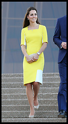 The Duchess of Cambridge walks down the steps of the Sydney Opera House after attending a reception following her arrival in Australia, Wednesday, 16th April 2014. Picture by Stephen Lock / i-Images