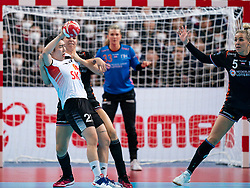 11-12-2019 JAP: Netherlands - Korea, Kumamoto<br /> Last match Main Round Group1 at 24th IHF Women's Handball World Championship, Netherlands win the last match against Korea with 36 - 24. / Danick Snelder #10 of Netherlands, Migyeong Lee #23 of Korea, Jessy Kramer #5 of Netherlands