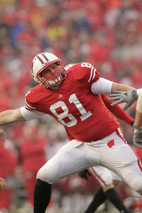 13 November 2010: Wisconsin Badgers tight end Rob Korslin (81) as the University of Wisconsin Badgers played the Indiana Hoosiers in a college football game in Madison, Wisc.