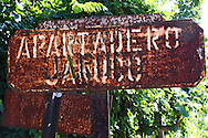 Rusty sign in Jaruco, Mayabeque, Cuba.
