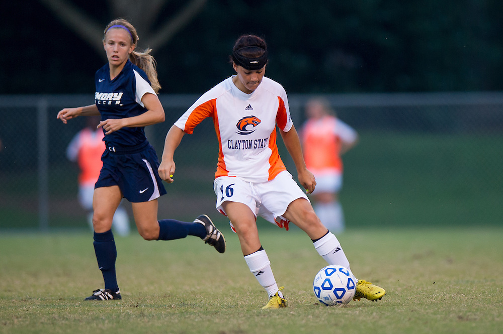 Aug 25, 2013; Morrow, GA, USA; Clayton State women's soccer player Brooke Bortles against Emory University at CSU. Photo by Kevin Liles/kdlphoto.com