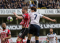 Football - 2016 / 2017 Premier League - Tottenham Hotspur vs. Southampton<br /> <br /> Heung-Min Son of Tottenham and Jack Stephens of Southampton compete for the ball at White Hart Lane.<br /> <br /> COLORSPORT/DANIEL BEARHAM