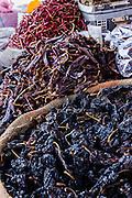 Dried and smoked pasilla chili pepper at Benito Juarez market in Oaxaca, Mexico.
