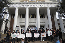 November 1, 2018 - College Park, MARYLAND, U.S - A ''Justice for Jordan'' rally and march took place at the University of Maryland in College Park the day after football coach DJ Durkin was fired as part of the aftermath of football player Jordan McNair's death this past summer.  Students and others seen assembled in front of the Main Administration building after having marched there from McKeldin Library. (Credit Image: © Evan Golub/ZUMA Wire)